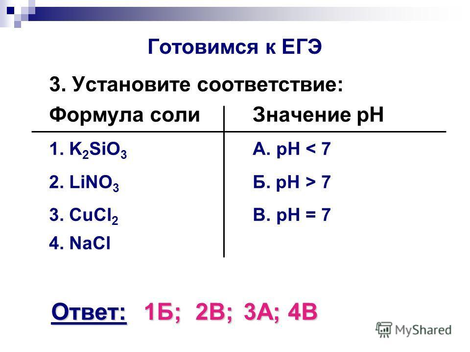 Готовимся к ЕГЭ 3. Установите соответствие: Формула солиЗначение pH 1. K 2 SiO 3 А. pH < 7 2. LiNO 3 Б. pH > 7 3. CuCl 2 В. pH = 7 4. NaCl Ответ:1Б;2В;3А;4В
