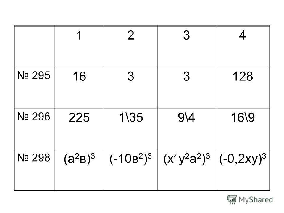 1234 295 1633128 296 2251\359\416\9 298 (а 2 в) 3 (-10в 2 ) 3 (х 4 у 2 а 2 ) 3 (-0,2ху) 3