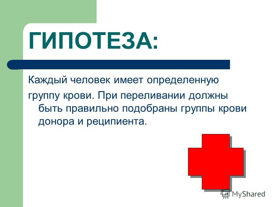 ГИПОТЕЗА: Каждый человек имеет определенную группу крови. При переливании должны быть правильно подобраны группы крови донора и реципиента.