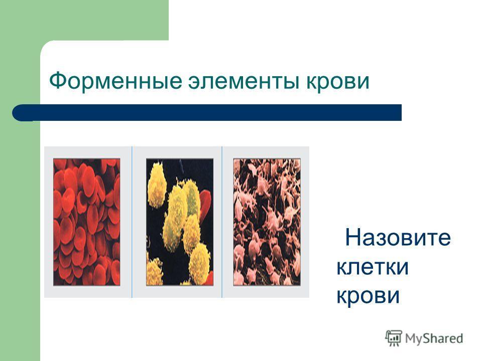 Форменные элементы крови Назовите клетки крови