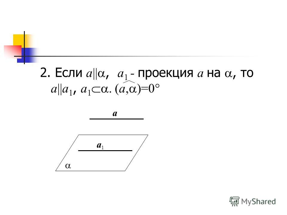 2. Если a||, a 1 - проекция a на, то a||a 1, a 1. (a, )=0 a1a1 a