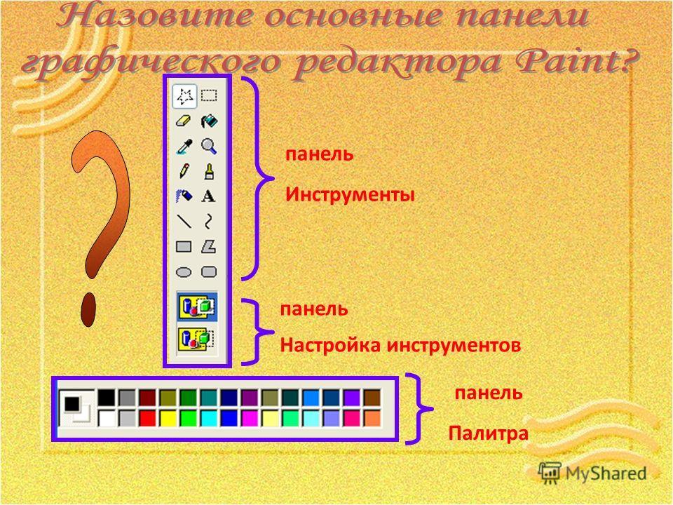 панель Инструменты панель Настройка инструментов панель Палитра