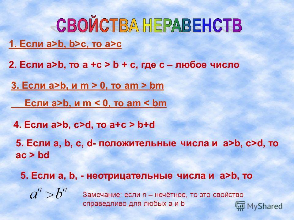 1. Если а>b, b>c, то a>c 2. Если а>b, то a +c > b + c, где с – любое число 3. Если а>b, и m > 0, то am > bm Если а>b, и m < 0, то am < bm 4. Если а>b, c>d, то a+c > b+d 5. Если a, b, c, d- положительные числа и а>b, c>d, то ac > bd 5. Если a, b, - не