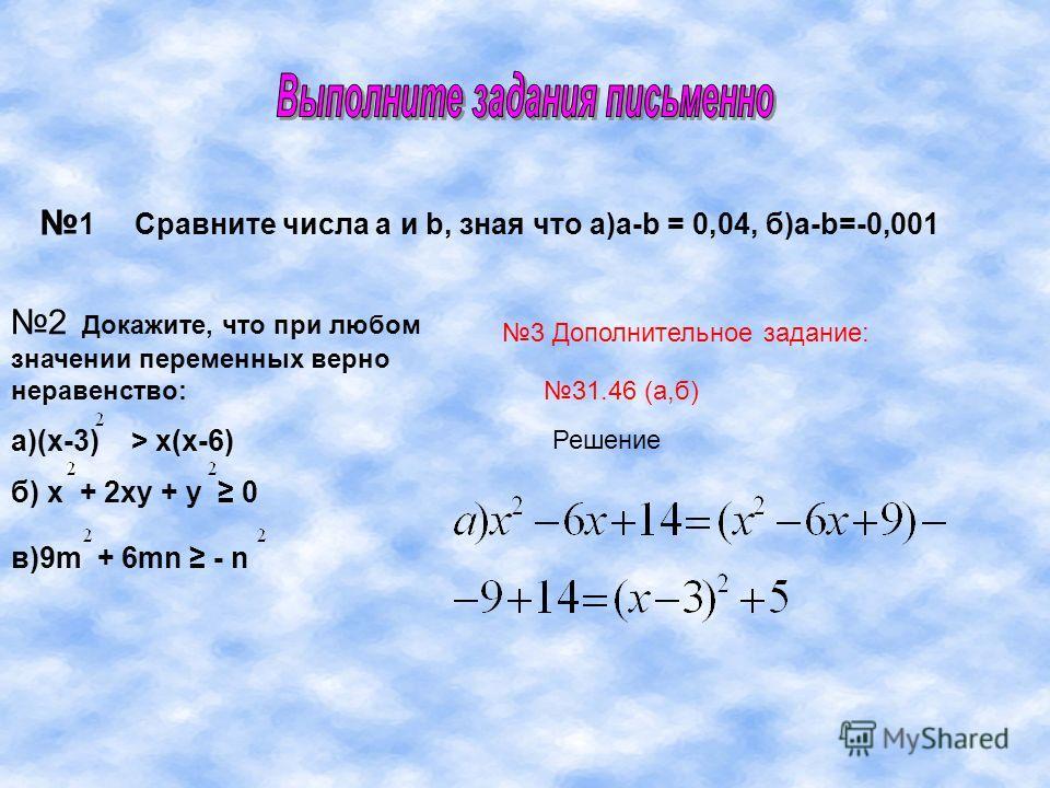 1 Сравните числа а и b, зная что а)a-b = 0,04, б)a-b=-0,001 2 Докажите, что при любом значении переменных верно неравенство: а)(х-3) > х(х-6) б) х + 2ху + у 0 в)9m + 6mn - n 3 Дополнительное задание: 31.46 (а,б) Решение