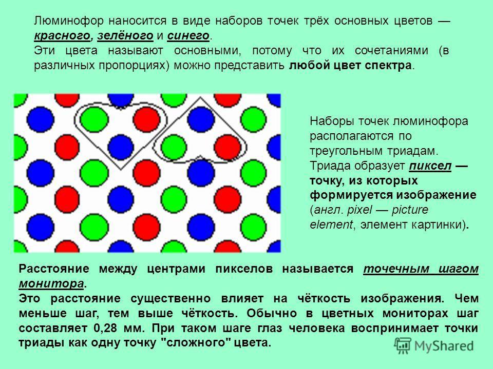 Люминофор наносится в виде наборов точек трёх основных цветов красного, зелёного и синего. Эти цвета называют основными, потому что их сочетаниями (в различных пропорциях) можно представить любой цвет спектра. Наборы точек люминофора располагаются по