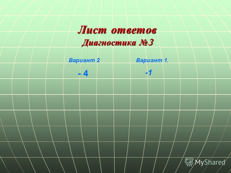 Лист ответов Диагностика 3 Диагностика 3 Вариант 1. - 4 Вариант 2 -1
