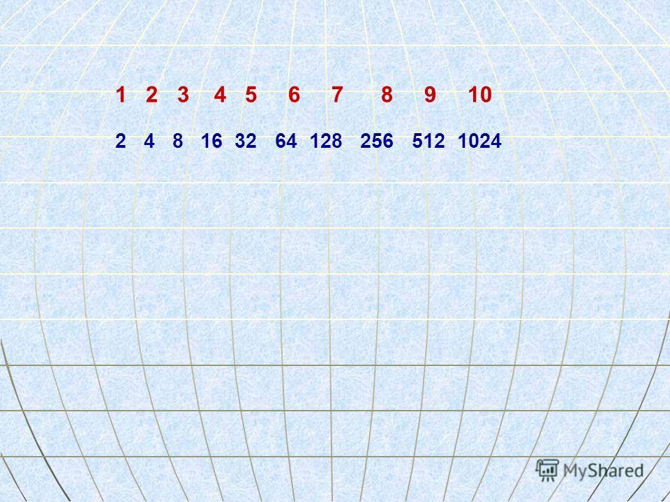 2 4 8 16 32 64 128 256 512 1024 1 2 3 4 5 6 7 8 9 10