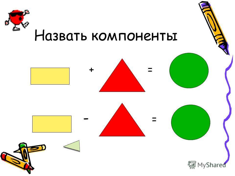 Назвать компоненты + = - =