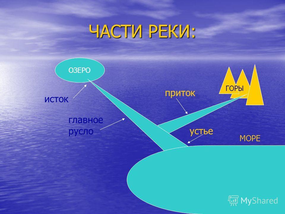 ЧАСТИ РЕКИ: ОЗЕРО ГОРЫ МОРЕ исток главное русло приток устье