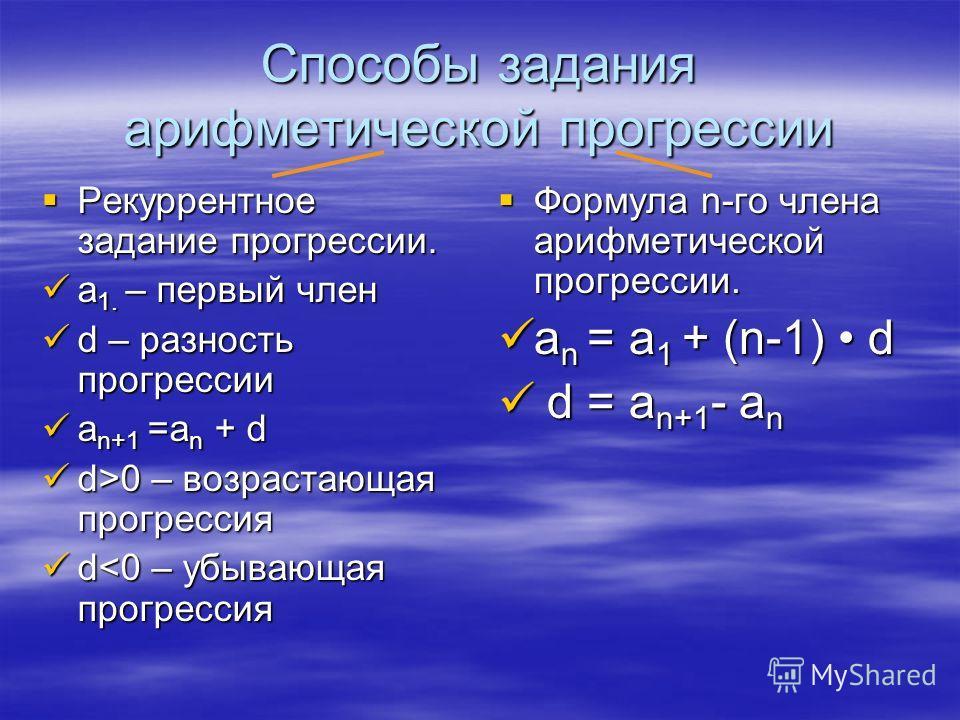 Способы задания арифметической прогрессии Рекуррентное задание прогрессии. Рекуррентное задание прогрессии. а 1. – первый член а 1. – первый член d – разность прогрессии d – разность прогрессии a n+1 =a n + d a n+1 =a n + d d>0 – возрастающая прогрес