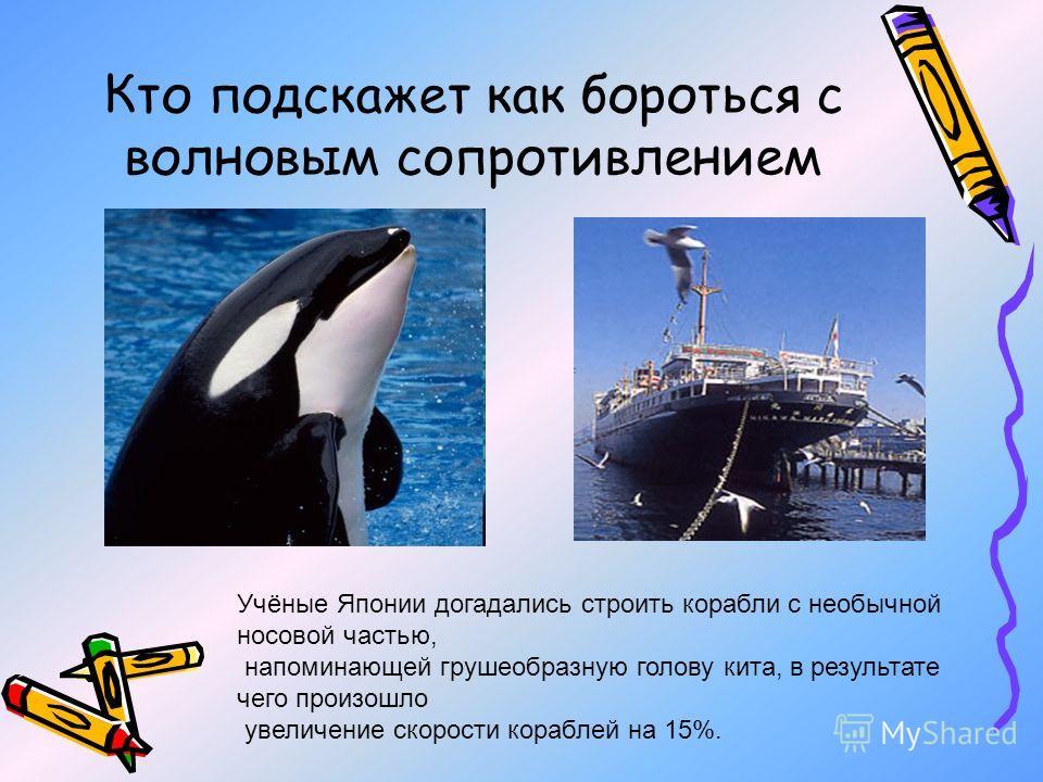 Кто подскажет как бороться с волновым сопротивлением Учёные Японии догадались строить корабли с необычной носовой частью, напоминающей грушеобразную голову кита, в результате чего произошло увеличение скорости кораблей на 15%.