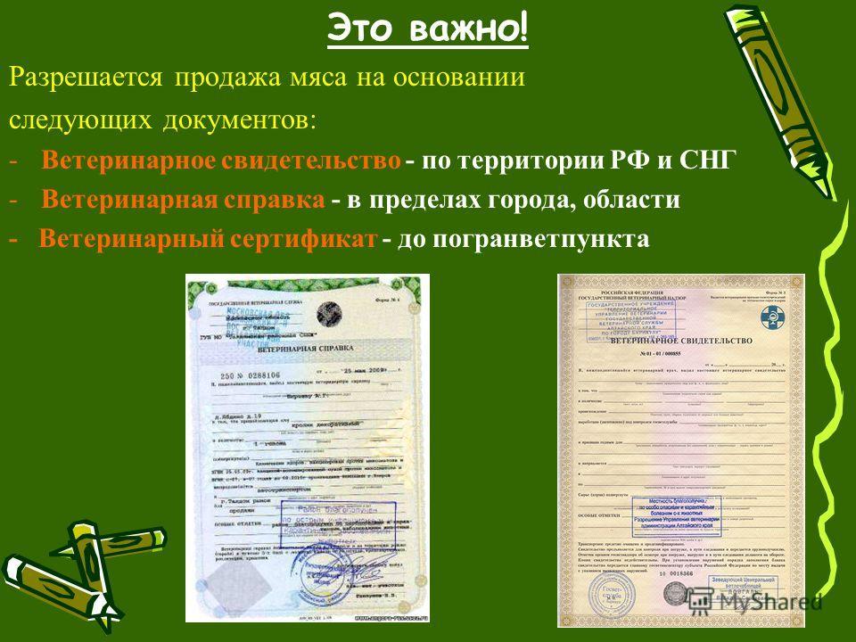 Это важно! Разрешается продажа мяса на основании следующих документов: -Ветеринарное свидетельство - по территории РФ и СНГ -Ветеринарная справка - в пределах города, области - Ветеринарный сертификат - до погранветпункта