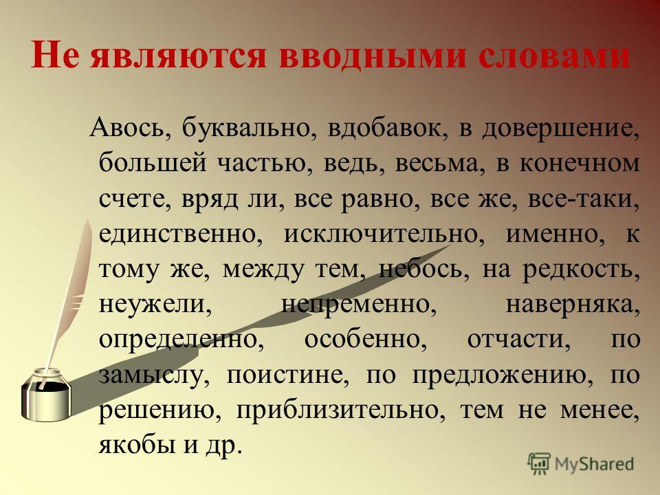 Не являются вводными словами Авось, буквально, вдобавок, в довершение, большей частью, ведь, весьма, в конечном счете, вряд ли, все равно, все же, все-таки, единственно, исключительно, именно, к тому же, между тем, небось, на редкость, неужели, непре
