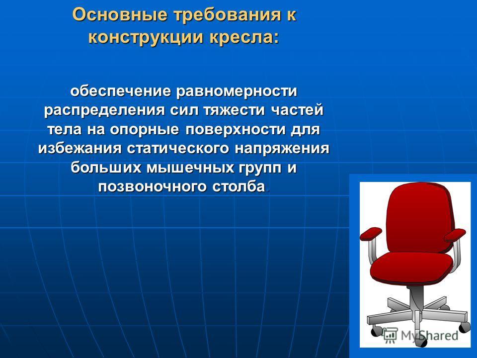 Основные требования к конструкции кресла: обеспечение равномерности распределения сил тяжести частей тела на опорные поверхности для избежания статического напряжения больших мышечных групп и позвоночного столба.