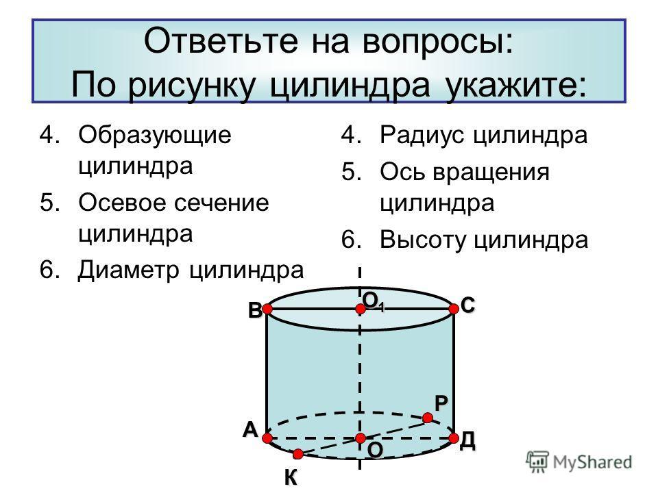 Ответьте на вопросы: По рисунку цилиндра укажите: 4.Образующие цилиндра 5.Осевое сечение цилиндра 6.Диаметр цилиндра 4.Радиус цилиндра 5.Ось вращения цилиндра 6.Высоту цилиндра В Р Д С О1О1О1О1 К А О