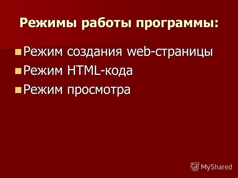 Режимы работы программы: Режим создания web-страницы Режим создания web-страницы Режим HTML-кода Режим HTML-кода Режим просмотра Режим просмотра