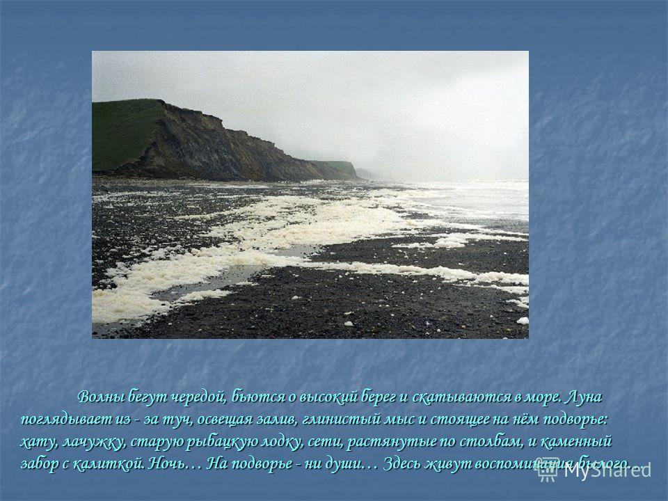 Волны бегут чередой, бьются о высокий берег и скатываются в море. Луна поглядывает из - за туч, освещая залив, глинистый мыс и стоящее на нём подворье: хату, лачужку, старую рыбацкую лодку, сети, растянутые по столбам, и каменный забор с калиткой. Но
