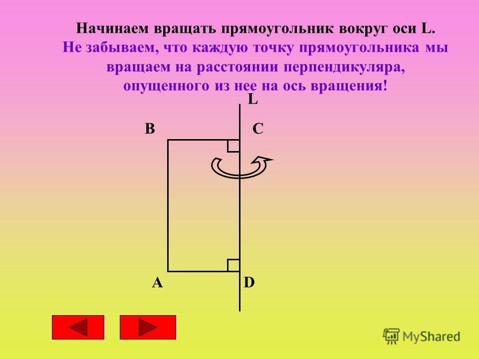 Начинаем вращать прямоугольник вокруг оси L. Не забываем, что каждую точку прямоугольника мы вращаем на расстоянии перпендикуляра, опущенного из нее на ось вращения! B AD C L