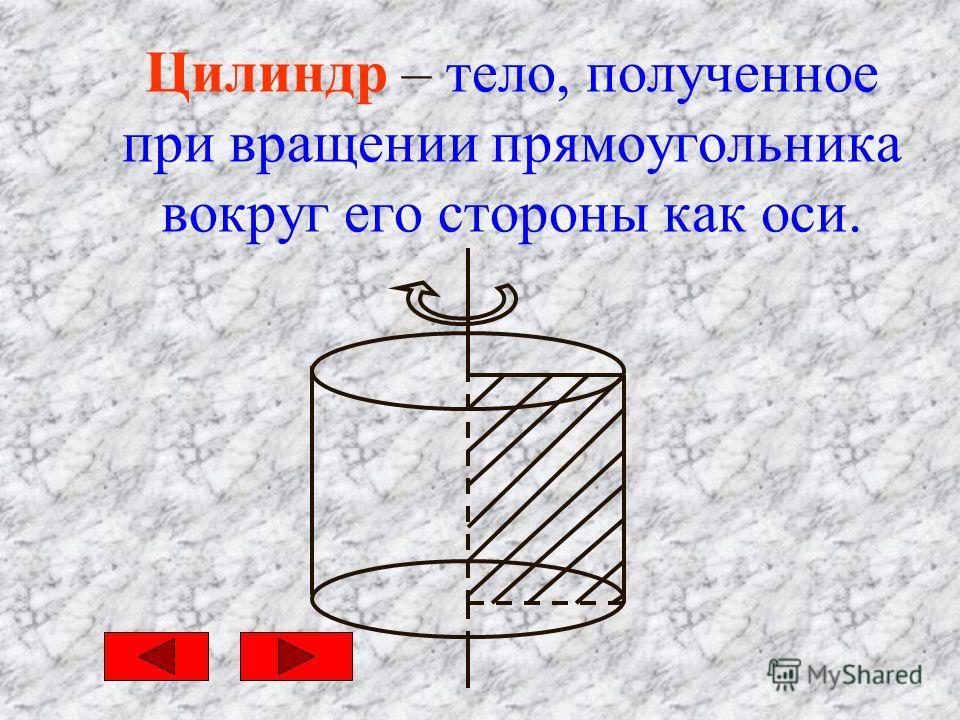Цилиндр – тело, полученное при вращении прямоугольника вокруг его стороны как оси.