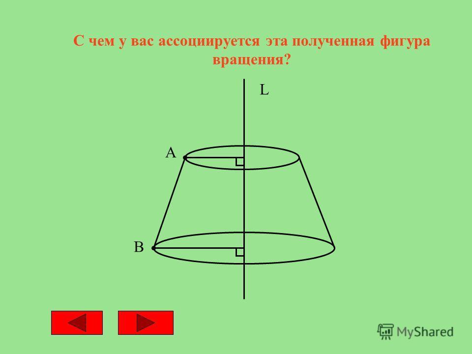 С чем у вас ассоциируется эта полученная фигура вращения? А В L