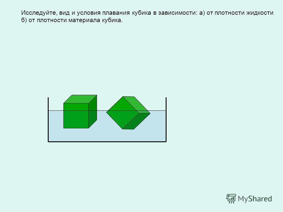 Исследуйте, вид и условия плавания кубика в зависимости: а) от плотности жидкости б) от плотности материала кубика.