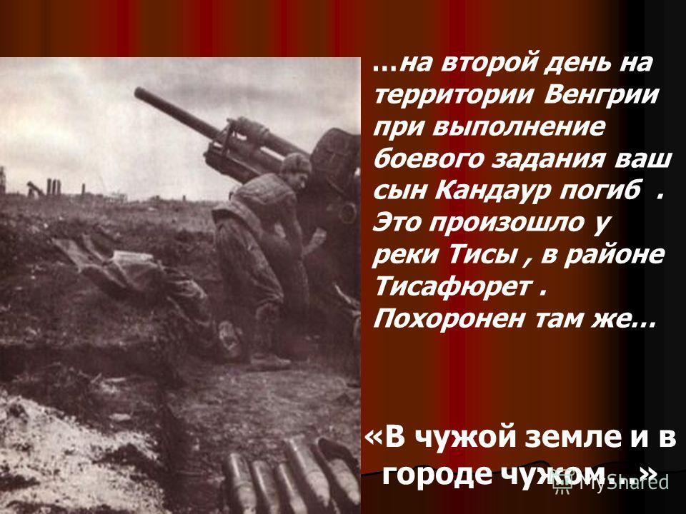 «В чужой земле и в городе чужом…» …на второй день на территории Венгрии при выполнение боевого задания ваш сын Кандаур погиб. Это произошло у реки Тисы, в районе Тисафюрет. Похоронен там же…