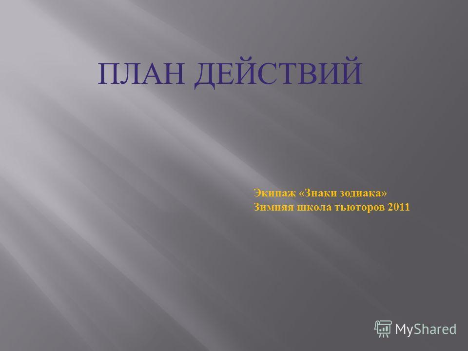 ПЛАН ДЕЙСТВИЙ Экипаж «Знаки зодиака» Зимняя школа тьюторов 2011