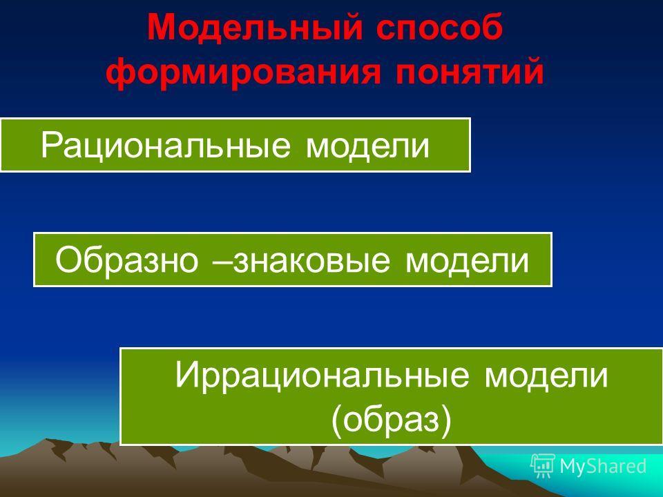 Модельный способ формирования понятий Образно –знаковые модели Иррациональные модели (образ) Рациональные модели