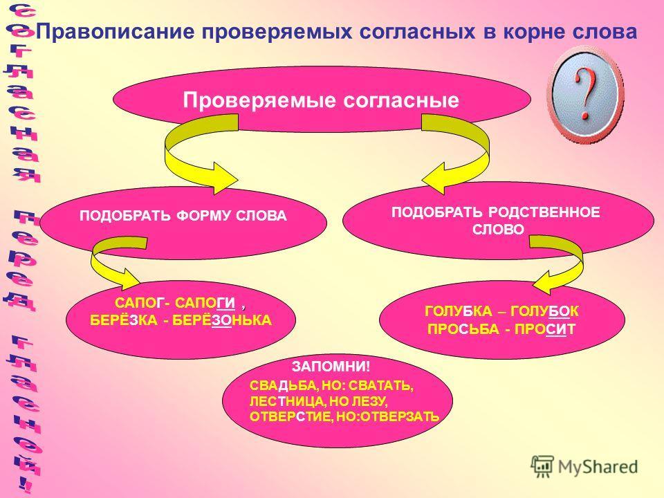 Правописание проверяемых согласных в корне слова ПОДОБРАТЬ ФОРМУ СЛОВА ПОДОБРАТЬ РОДСТВЕННОЕ СЛОВО Проверяемые согласные, САПОГ- САПОГИ, БЕРЁЗКА - БЕРЁЗОНЬКА ГОЛУБКА – ГОЛУБОК ПРОСЬБА - ПРОСИТ ЗАПОМНИ! СВАДЬБА, НО: СВАТАТЬ, ЛЕСТНИЦА, НО ЛЕЗУ, ОТВЕРСТ