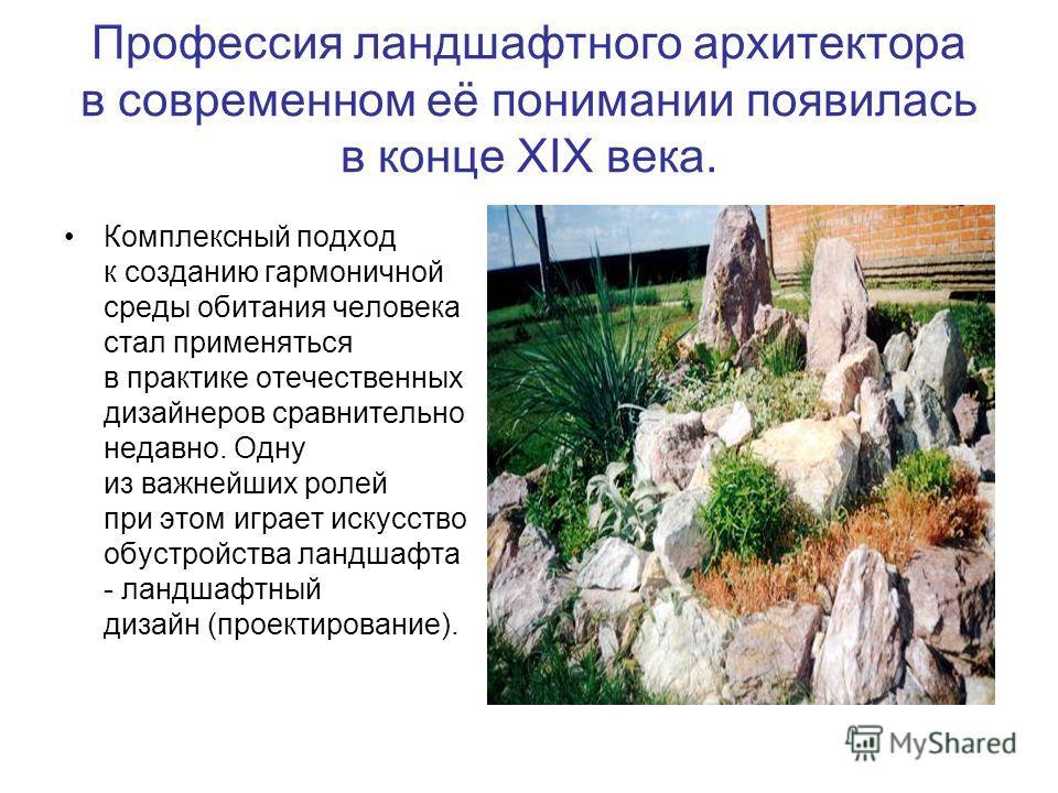 Профессия ландшафтного архитектора в современном её понимании появилась в конце XIX века. Комплексный подход к созданию гармоничной среды обитания человека стал применяться в практике отечественных дизайнеров сравнительно недавно. Одну из важнейших р