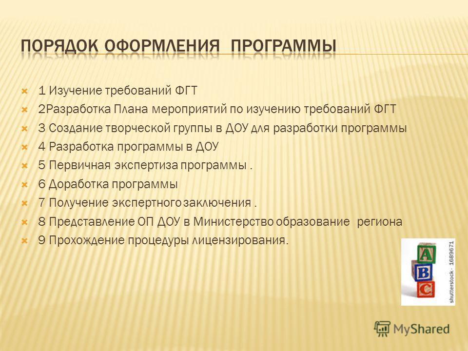 1 Изучение требований ФГТ 2Разработка Плана мероприятий по изучению требований ФГТ 3 Создание творческой группы в ДОУ для разработки программы 4 Разработка программы в ДОУ 5 Первичная экспертиза программы. 6 Доработка программы 7 Получение экспертног