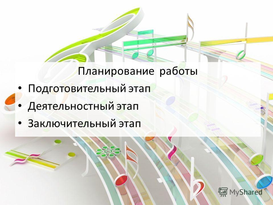 Планирование работы Подготовительный этап Деятельностный этап Заключительный этап