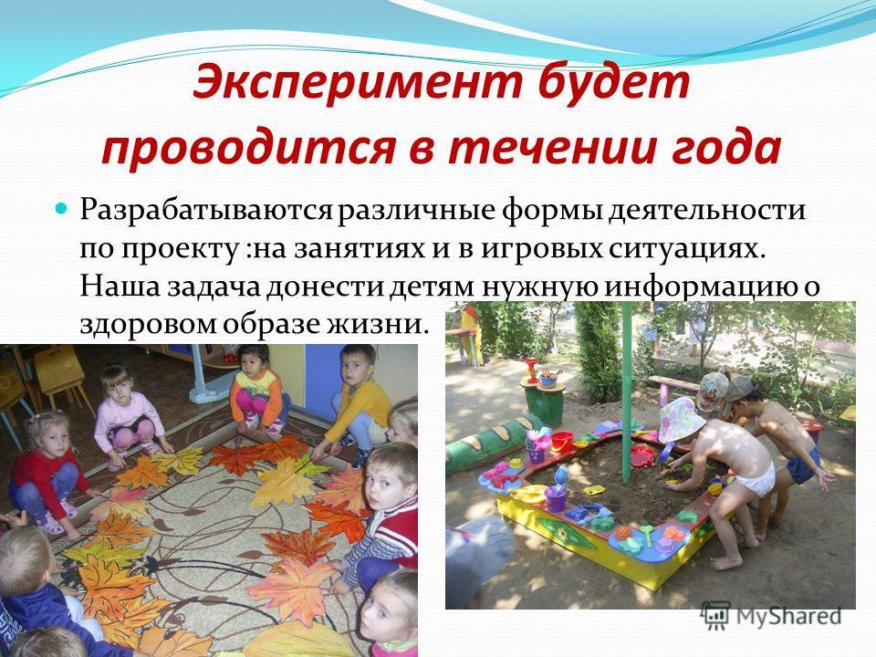 Эксперимент будет проводится в течении года Разрабатываются различные формы деятельности по проекту :на занятиях и в игровых ситуациях. Наша задача донести детям нужную информацию о здоровом образе жизни.