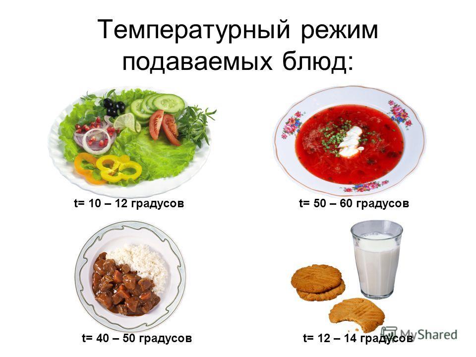 Температурный режим подаваемых блюд: t= 10 – 12 градусовt= 50 – 60 градусов t= 40 – 50 градусовt= 12 – 14 градусов