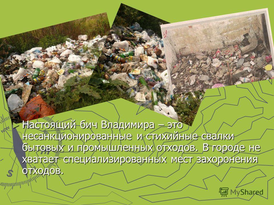Настоящий бич Владимира – это несанкционированные и стихийные свалки бытовых и промышленных отходов. В городе не хватает специализированных мест захоронения отходов.