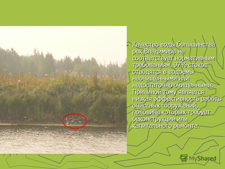 Качество воды большинства рек Владимира не соответствует нормативным требованиям. 97% стоков отводятся в водоемы неочищенными или недостаточно очищенными. Причиной тому является низкая эффективность работы очистных сооружений, половина которых требуе