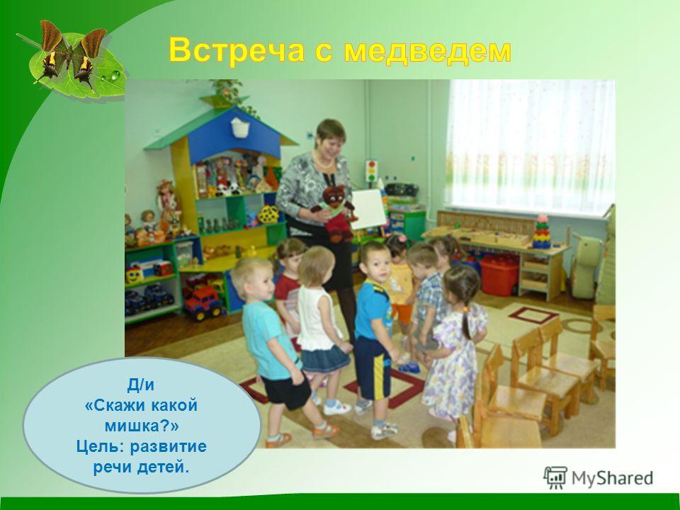 Д/и «Скажи какой мишка?» Цель: развитие речи детей.