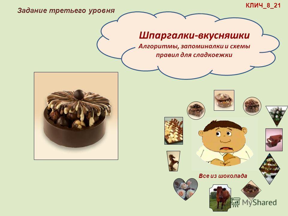 КЛИЧ_8_21 Задание третьего уровня Шпаргалки-вкусняшки Алгоритмы, запоминалки и схемы правил для сладкоежки Все из шоколада