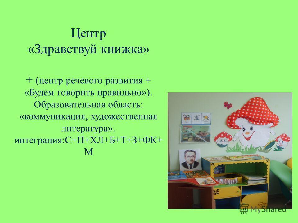 Центр «Здравствуй книжка» + (центр речевого развития + «Будем говорить правильно»). Образовательная область: «коммуникация, художественная литература». интеграция:С+П+ХЛ+Б+Т+З+ФК+ М