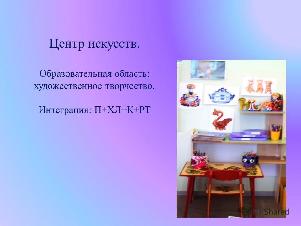 Центр искусств. Образовательная область: художественное творчество. Интеграция: П+ХЛ+К+РТ