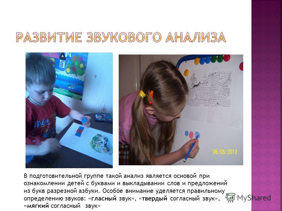 В подготовительной группе такой анализ является основой при ознакомлении детей с буквами и выкладывании слов и предложений из букв разрезной азбуки. Особое внимание уделяется правильному определению звуков: «гласный звук», «твердый согласный звук», «