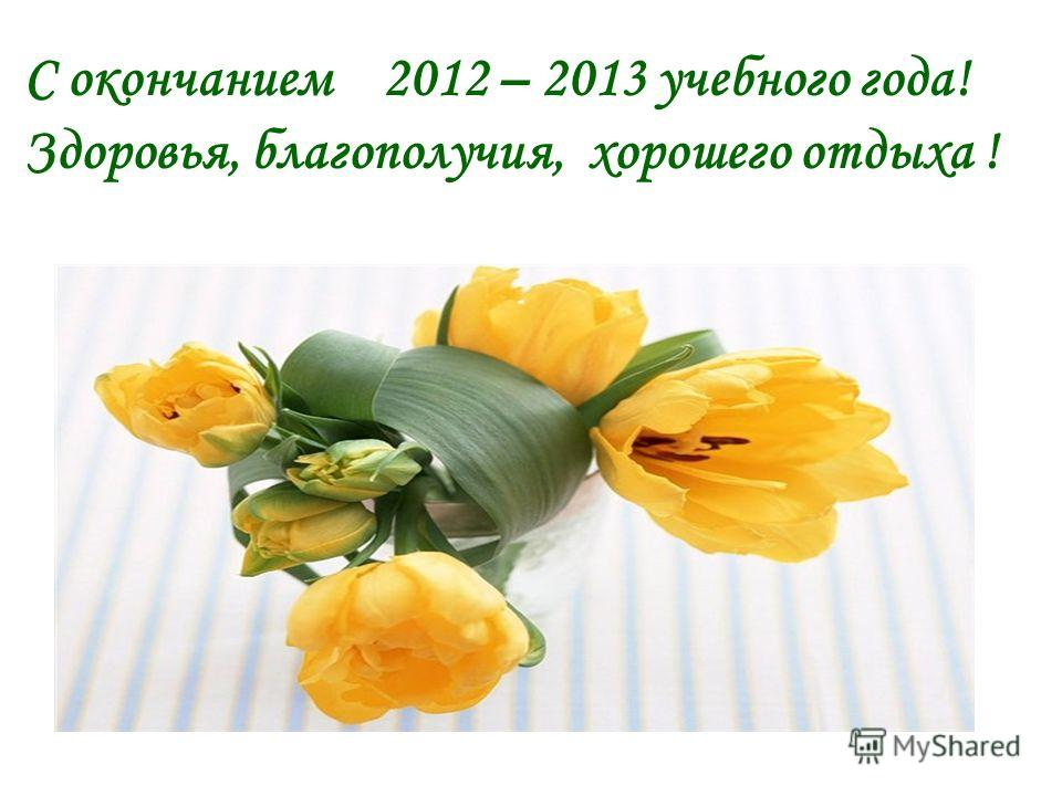 С окончанием 2012 – 2013 учебного года! Здоровья, благополучия, хорошего отдыха !