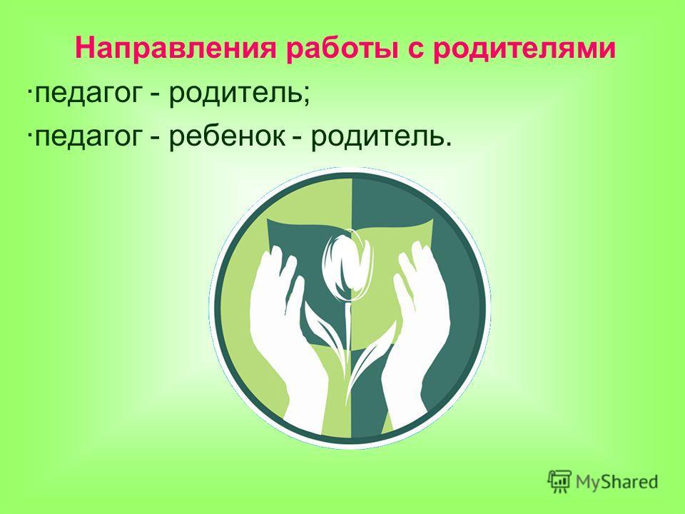 Направления работы с родителями ·педагог - родитель; ·педагог - ребенок - родитель.