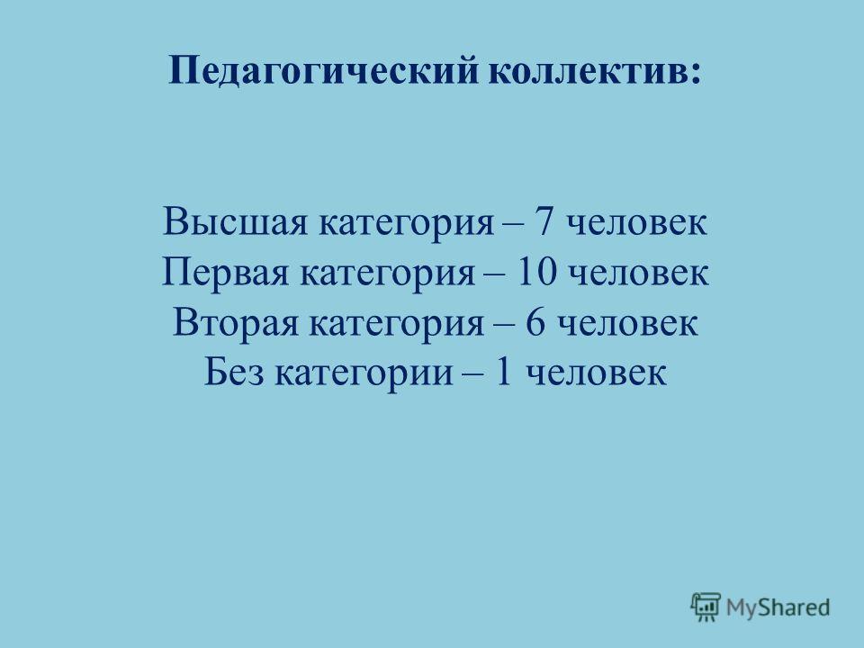 Педагогический коллектив: Высшая категория – 7 человек Первая категория – 10 человек Вторая категория – 6 человек Без категории – 1 человек