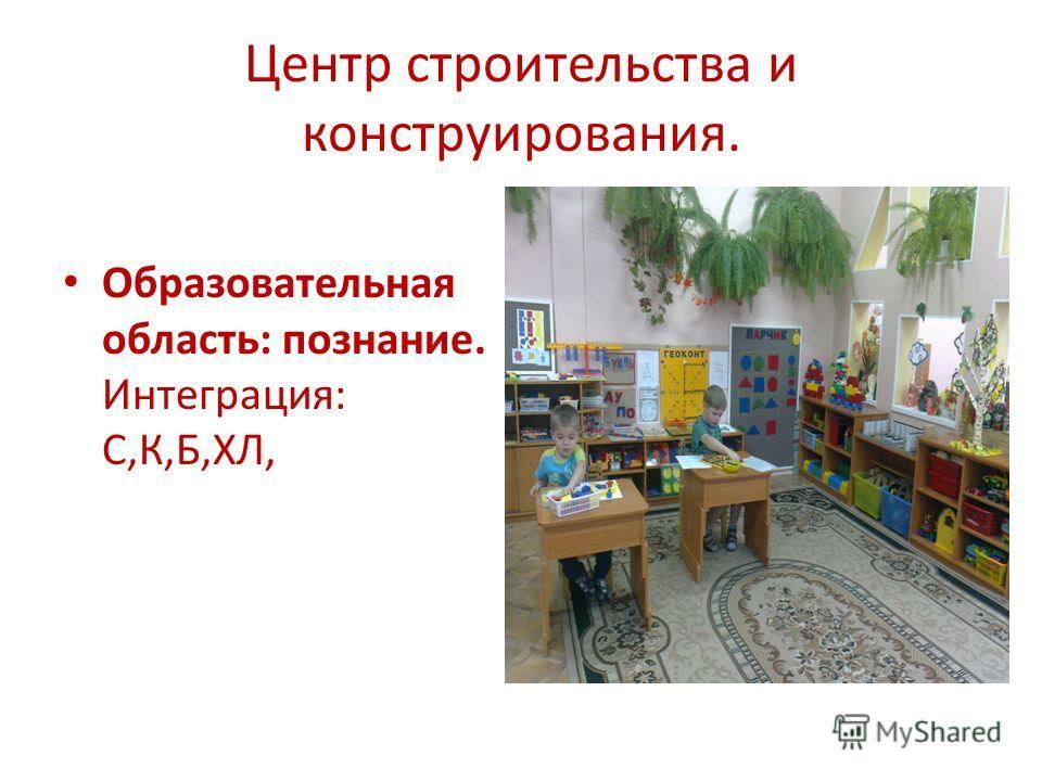 Центр строительства и конструирования. Образовательная область: познание. Интеграция: С,К,Б,ХЛ,