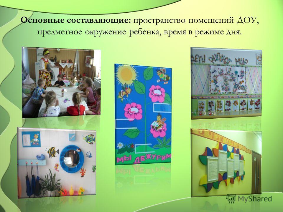 Основные составляющие: пространство помещений ДОУ, предметное окружение ребенка, время в режиме дня.