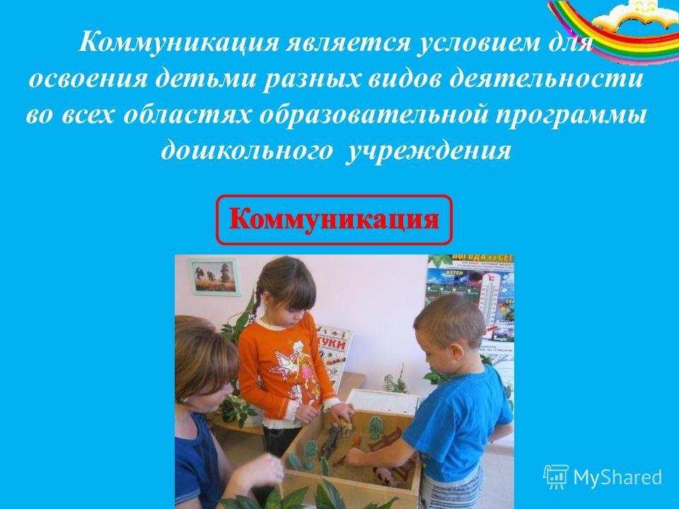 Коммуникация является условием для освоения детьми разных видов деятельности во всех областях образовательной программы дошкольного учреждения