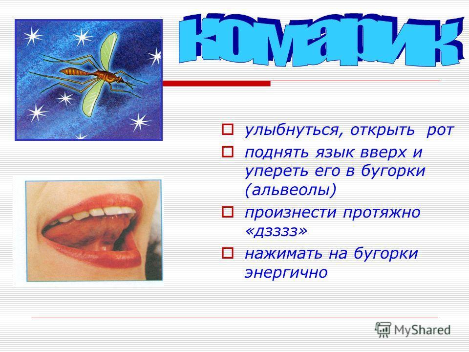 улыбнуться, открыть рот поднять язык вверх и упереть его в бугорки (альвеолы) произнести протяжно «дзззз» нажимать на бугорки энергично