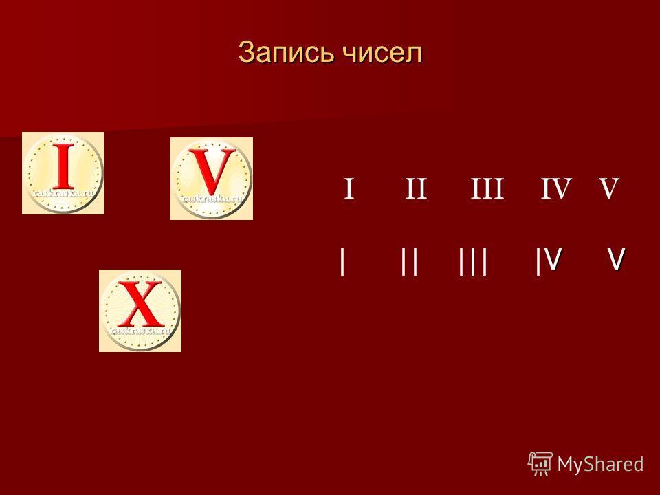 Запись чисел I II III IV V V V | || ||| | V V