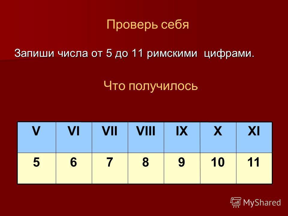 Проверь себя Запиши числа от 5 до 11 римскими цифрами. 1101098765 XIXIXVIIIVIIVIV Что получилось